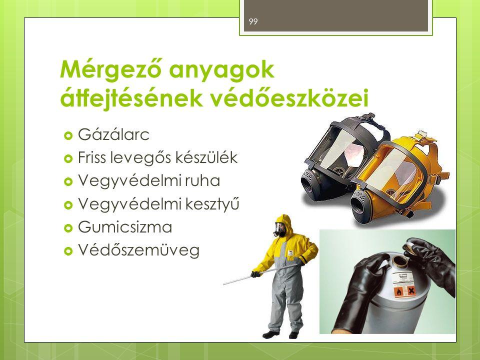 Mérgező anyagok átfejtésének védőeszközei  Gázálarc  Friss levegős készülék  Vegyvédelmi ruha  Vegyvédelmi kesztyű  Gumicsizma  Védőszemüveg 99