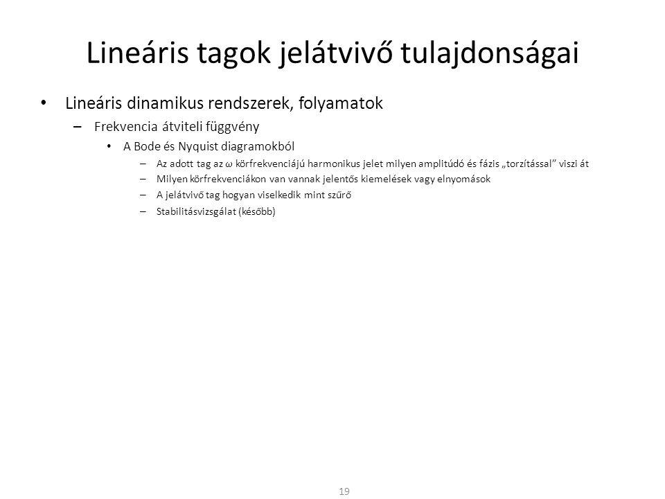 """Lineáris tagok jelátvivő tulajdonságai • Lineáris dinamikus rendszerek, folyamatok – Frekvencia átviteli függvény • A Bode és Nyquist diagramokból – Az adott tag az  körfrekvenciájú harmonikus jelet milyen amplitúdó és fázis """"torzítással viszi át – Milyen körfrekvenciákon van vannak jelentős kiemelések vagy elnyomások – A jelátvivő tag hogyan viselkedik mint szűrő – Stabilitásvizsgálat (később) 19"""