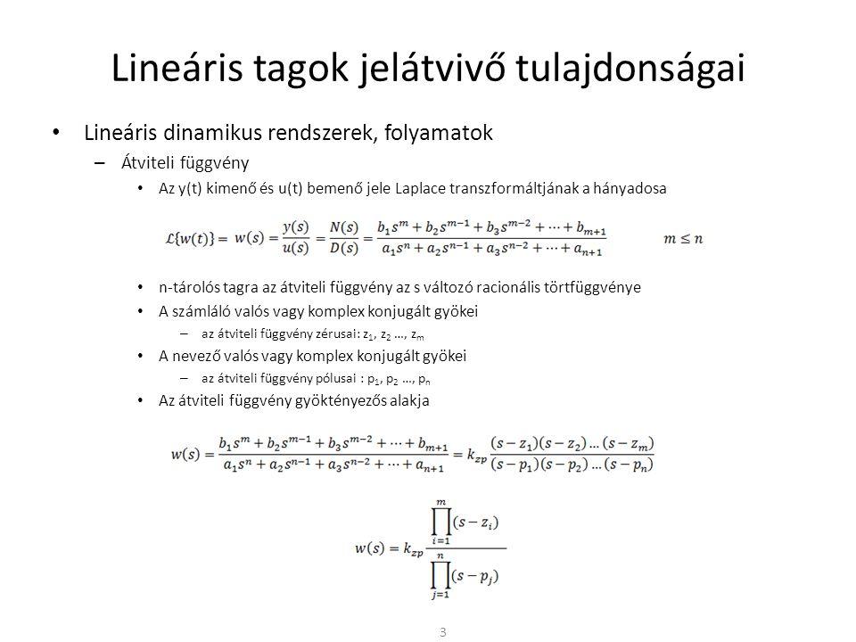 Lineáris tagok jelátvivő tulajdonságai • Lineáris dinamikus rendszerek, folyamatok – Hatásvázlatok átalakítása • Bemenő jel és a visszacsatolt kör tetszőleges jele közötti kapcsolat • A keresett átviteli függvényben – A számlálóban mindig a bemenő és keresett jel közötti átviteli függvények eredője – A nevezőben mindig az 1 + w 0 kifejezés – w 0 a felnyitott kör átviteli függvénye 24 w1w1 w2w2 - u1u1 y2y2 w3w3 y u2u2 uhuh y1y1