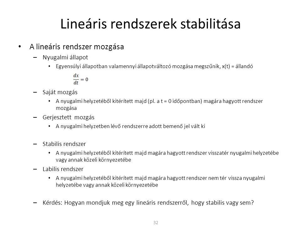 Lineáris rendszerek stabilitása • A lineáris rendszer mozgása – Nyugalmi állapot • Egyensúlyi állapotban valamennyi állapotváltozó mozgása megszűnik, x(t) = állandó – Saját mozgás • A nyugalmi helyzetéből kitérített majd (pl.