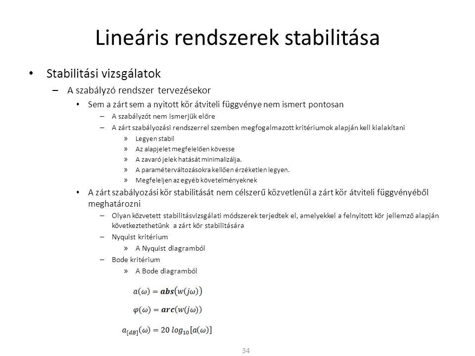 Lineáris rendszerek stabilitása • Stabilitási vizsgálatok – A szabályzó rendszer tervezésekor • Sem a zárt sem a nyitott kör átviteli függvénye nem ismert pontosan – A szabályzót nem ismerjük előre – A zárt szabályozási rendszerrel szemben megfogalmazott kritériumok alapján kell kialakítani » Legyen stabil » Az alapjelet megfelelően kövesse » A zavaró jelek hatását minimalizálja.