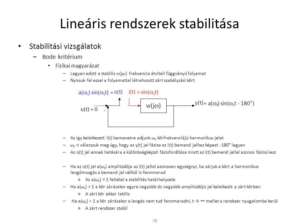 Lineáris rendszerek stabilitása • Stabilitási vizsgálatok – Bode kritérium • Fizikai magyarázat – Legyen adott a stabilis w(j  ) frekvencia átviteli függvényű folyamat – Nyissuk fel ezzel a folyamattal létrehozott zárt szabályzási kört – Az így keletkezett i(t) bemenetre adjunk  t körfrekvenciájú harmonikus jelet –  t -t válasszuk meg úgy, hogy az y(t) jel fázisa az i(t) bemenő jelhez képest -180° legyen – Az o(t) jel ennek hatására a különbségképző fázisfordítása miatt az i(t) bemenő jellel azonos fázisú lesz – Ha az o(t) jel a(  t ) amplitúdója az i(t) jellel azonosan egységnyi, ha zárjuk a kört a harmonikus lengőmozgás a bemenő jel nélkül is fennmarad » Az a(  t ) = 1 feltétel a stabilitás határhelyzete – Ha a(  t ) > 1 a kör zárásakor egyre nagyobb és nagyobb amplitúdójú jel keletkezik a zárt körben » A zárt kör ekkor labilis – Ha a(  t ) < 1 a kör zárásakor a lengés nem tud fennmaradni, t → ∞ mellet a rendszer nyugalomba kerül » A zárt rendszer stabil 38 w(j  ) y(t) - u(t) = 0 = sin(  t t) = a(  t ) sin(  t t - 180°) a(  t ) sin(  t t) = o(t) i(t)