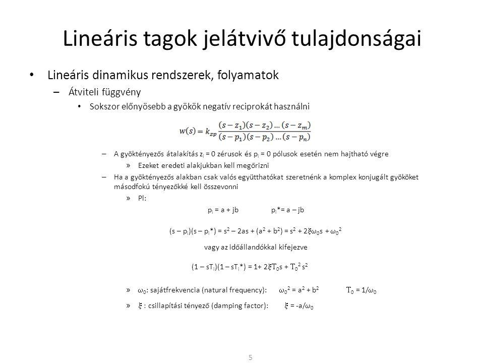 Lineáris alaptagok • Ideális alaptagok – Integráló (I) tag • A bemenő jel integrálásával képzi a kimenő jelet • Ugrás alakú súlyfüggvény w(t) • Sebességugrás alakú átmeneti függvény v(t) • Pl: Kondenzátor feszültsége és árama közötti kapcsolat • A kis frekvenciákat kiemeli, a nagy frekvenciákat szűri 26 1/(sT i ) 1/T i t t w(t) v(t) ()() -20dB/dek w(s) = 1/(sT i ) a [dB] (  ) lg  1/T i -90°