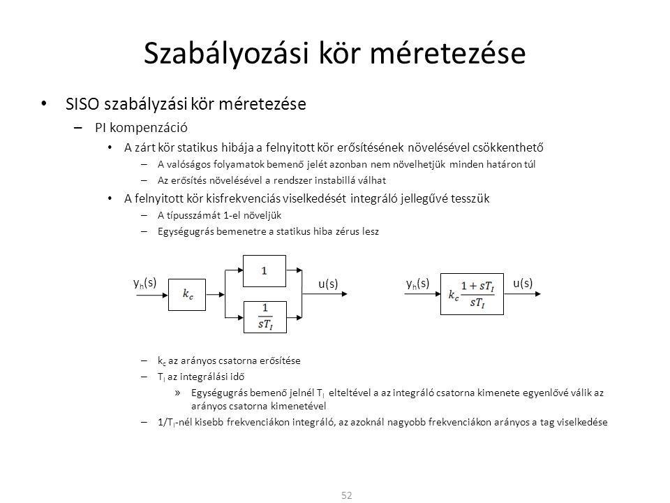 Szabályozási kör méretezése • SISO szabályzási kör méretezése – PI kompenzáció • A zárt kör statikus hibája a felnyitott kör erősítésének növelésével csökkenthető – A valóságos folyamatok bemenő jelét azonban nem növelhetjük minden határon túl – Az erősítés növelésével a rendszer instabillá válhat • A felnyitott kör kisfrekvenciás viselkedését integráló jellegűvé tesszük – A típusszámát 1-el növeljük – Egységugrás bemenetre a statikus hiba zérus lesz – k c az arányos csatorna erősítése – T I az integrálási idő » Egységugrás bemenő jelnél T I elteltével a az integráló csatorna kimenete egyenlővé válik az arányos csatorna kimenetével – 1/T I -nél kisebb frekvenciákon integráló, az azoknál nagyobb frekvenciákon arányos a tag viselkedése 52 u(s) y h (s) u(s) y h (s)