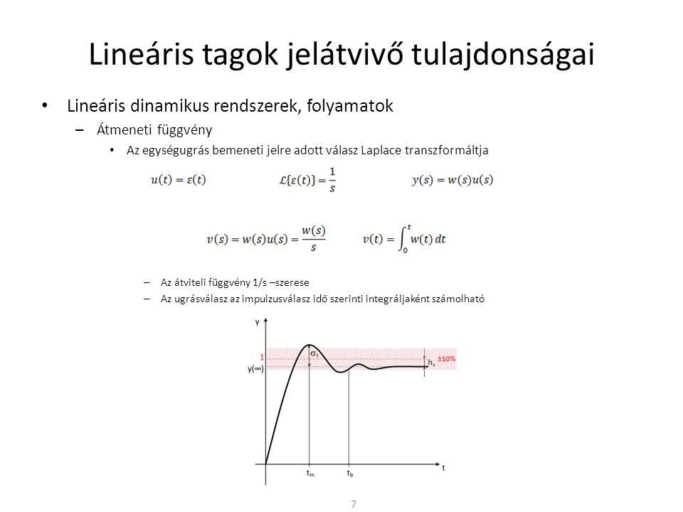 Lineáris alaptagok • Tárolós tagok – Egytárolós arányos tag • Az  < 1/T tartományon arányos (P) taggal közelíthető • Az  > 1/T tartományon integráló (I) taggal közelíthető • Tranziensek esetén először az integráló hatás érvényesül – A kimenő jelben először a bemenő jel integrálja jelenik meg • Majd hosszabb idő múlva az arányos (P) hatás érvényesül – A két hatás határa a T időkéséssel jellemezhető 28 1/(1+sT) T t t w(t) v(t) ()() -20dB/dek w(s) = 1/(1+sT) a [dB] (  ) lg  1/T -90° 1/T T 1 1 -45°