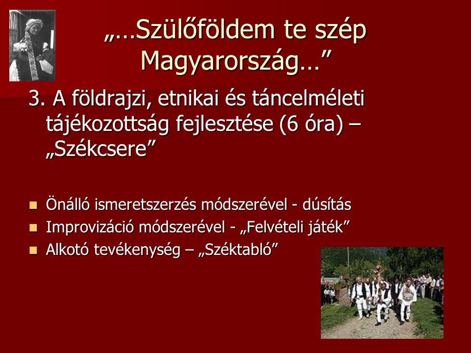 """""""…Szülőföldem te szép Magyarország…"""" 3. A földrajzi, etnikai és táncelméleti tájékozottság fejlesztése (6 óra) – """"Székcsere""""  Önálló ismeretszerzés m"""
