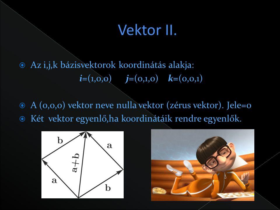  Az i,j,k bázisvektorok koordinátás alakja: i=(1,0,0) j=(0,1,0) k=(0,0,1)  A (0,0,0) vektor neve nulla vektor (zérus vektor). Jele=0  Két vektor eg