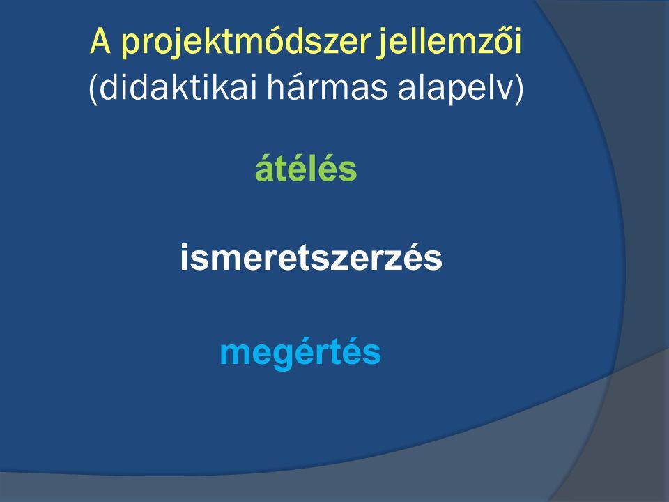 A projektmódszer jellemzői (didaktikai hármas alapelv) átélés ismeretszerzés megértés