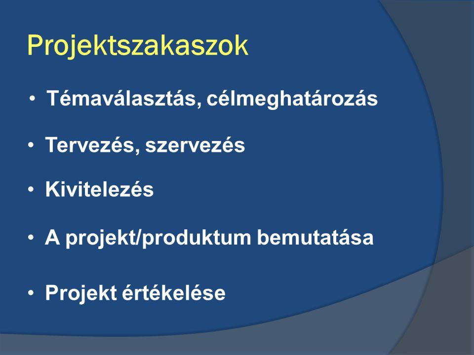 Projektszakaszok •Témaválasztás, célmeghatározás •Tervezés, szervezés •Projekt értékelése •A projekt/produktum bemutatása •Kivitelezés