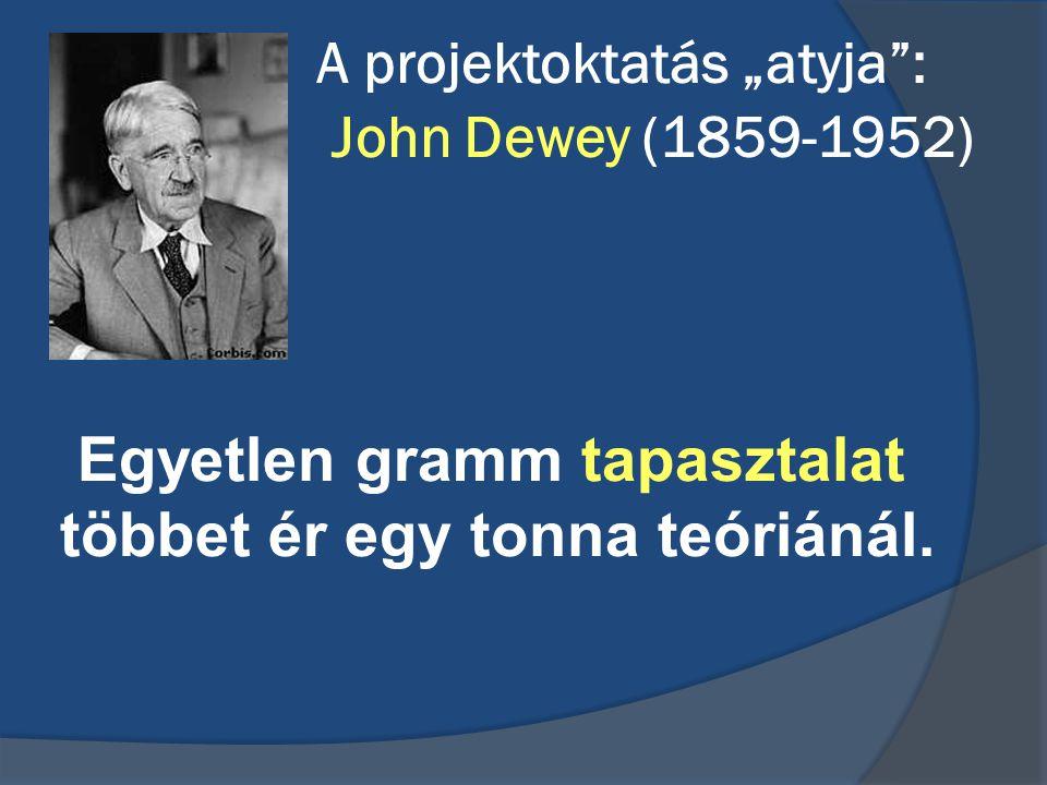 """A projektoktatás """"atyja"""": John Dewey (1859-1952) Egyetlen gramm tapasztalat többet ér egy tonna teóriánál."""