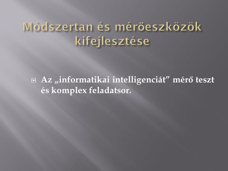 """ Az """"informatikai intelligenciát mérő teszt és komplex feladatsor."""