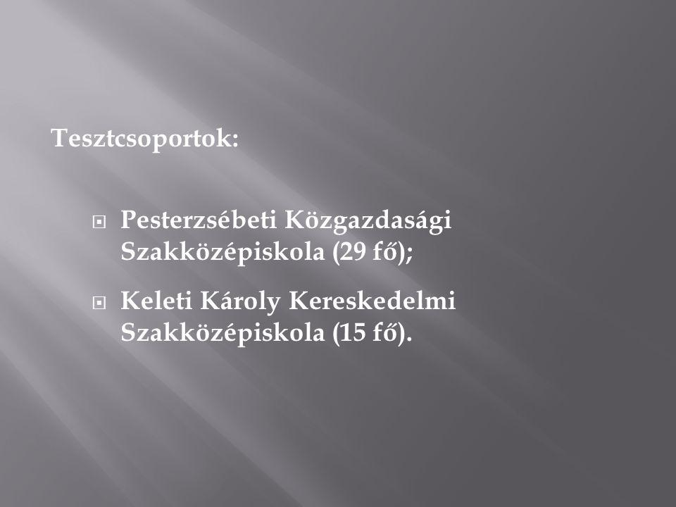 Tesztcsoportok:  Pesterzsébeti Közgazdasági Szakközépiskola (29 fő);  Keleti Károly Kereskedelmi Szakközépiskola (15 fő).