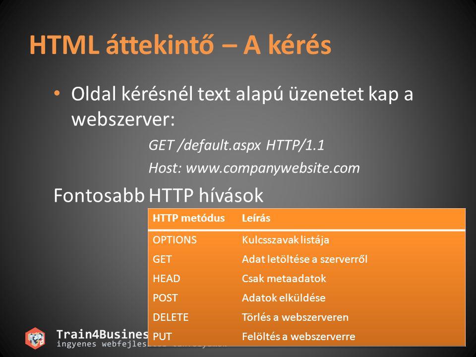 HTML áttekintő – A kérés • Oldal kérésnél text alapú üzenetet kap a webszerver: GET /default.aspx HTTP/1.1 Host: www.companywebsite.com Fontosabb HTTP