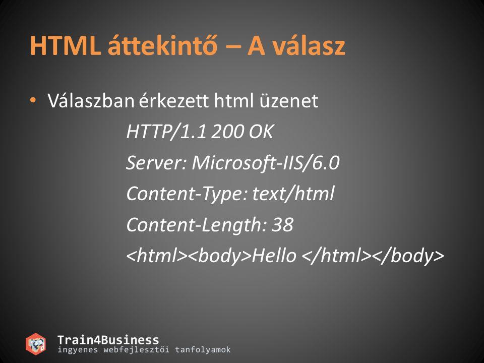HTML áttekintő – A válasz • Válaszban érkezett html üzenet HTTP/1.1 200 OK Server: Microsoft-IIS/6.0 Content-Type: text/html Content-Length: 38 Hello
