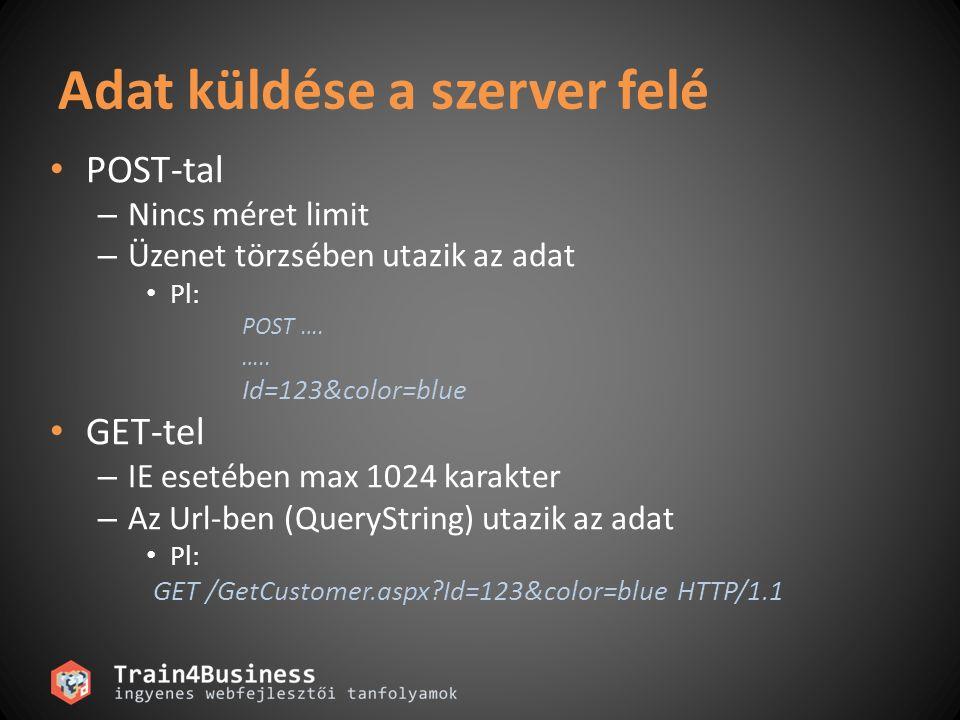 Adat küldése a szerver felé • POST-tal – Nincs méret limit – Üzenet törzsében utazik az adat • Pl: POST …. ….. Id=123&color=blue • GET-tel – IE esetéb