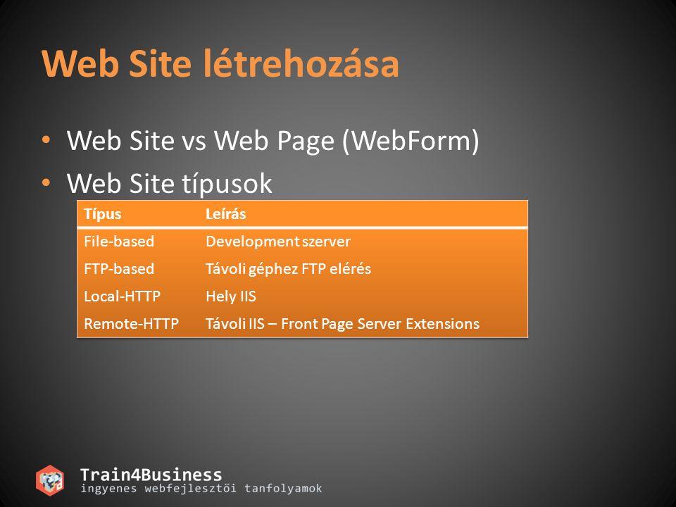 Web Site létrehozása • Web Site vs Web Page (WebForm) • Web Site típusok