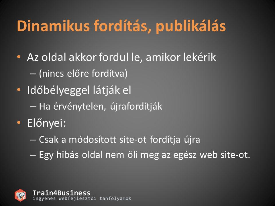 Dinamikus fordítás, publikálás • Az oldal akkor fordul le, amikor lekérik – (nincs előre fordítva) • Időbélyeggel látják el – Ha érvénytelen, újraford
