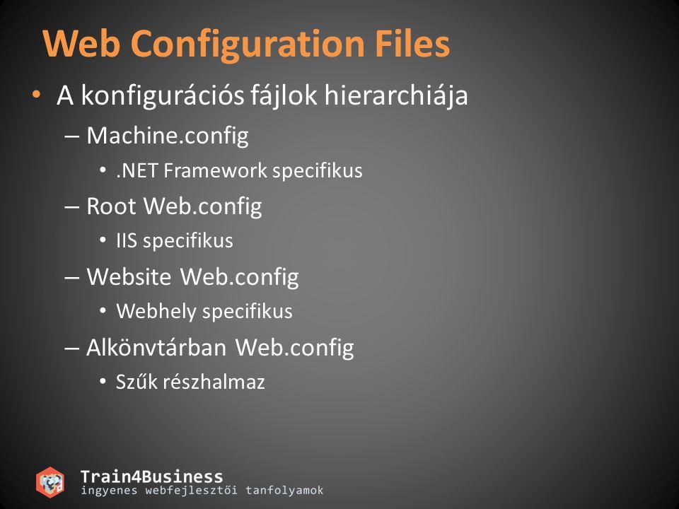 Web Configuration Files • A konfigurációs fájlok hierarchiája – Machine.config •.NET Framework specifikus – Root Web.config • IIS specifikus – Website