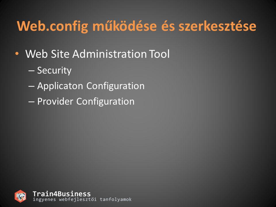 Web.config működése és szerkesztése • Web Site Administration Tool – Security – Applicaton Configuration – Provider Configuration