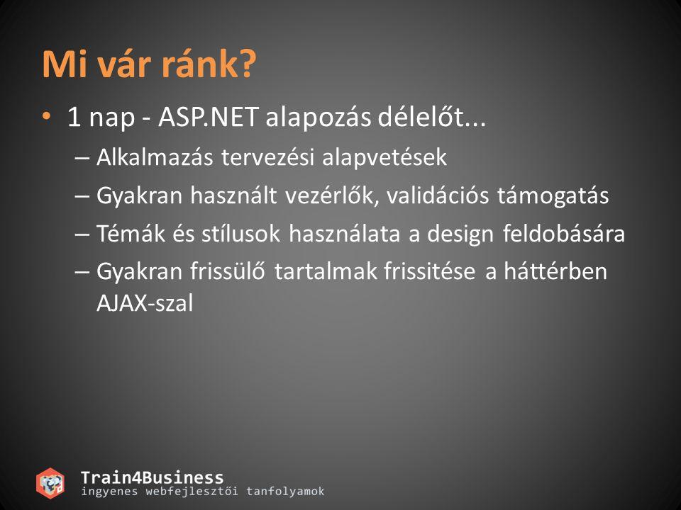 Mi vár ránk? • 1 nap - ASP.NET alapozás délelőt... – Alkalmazás tervezési alapvetések – Gyakran használt vezérlők, validációs támogatás – Témák és stí