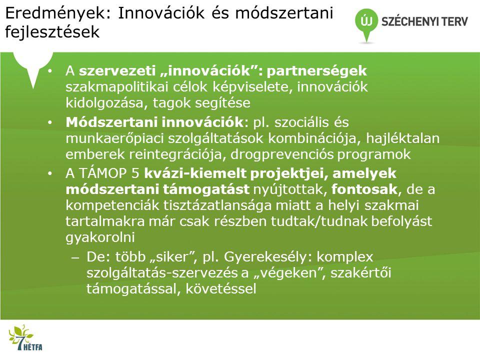 """Eredmények: Innovációk és módszertani fejlesztések • A szervezeti """"innovációk"""": partnerségek szakmapolitikai célok képviselete, innovációk kidolgozása"""