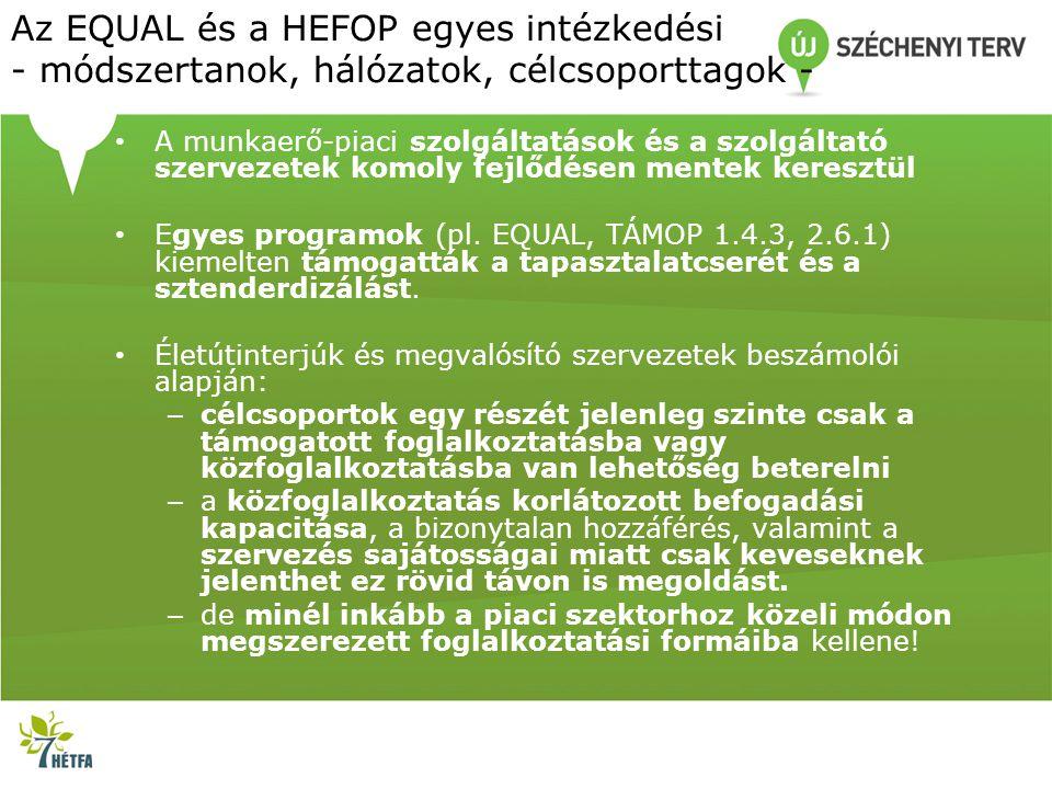 Az EQUAL és a HEFOP egyes intézkedési - módszertanok, hálózatok, célcsoporttagok - • A munkaerő-piaci szolgáltatások és a szolgáltató szervezetek komo