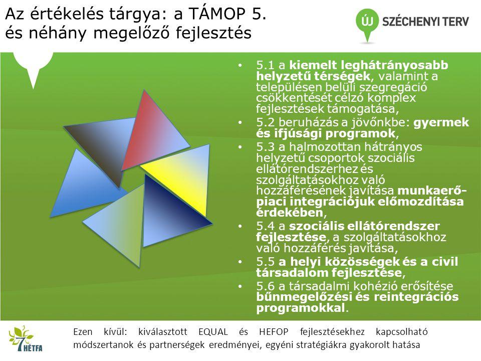 Az értékelés tárgya: a TÁMOP 5. és néhány megelőző fejlesztés • 5.1 a kiemelt leghátrányosabb helyzetű térségek, valamint a településen belüli szegreg