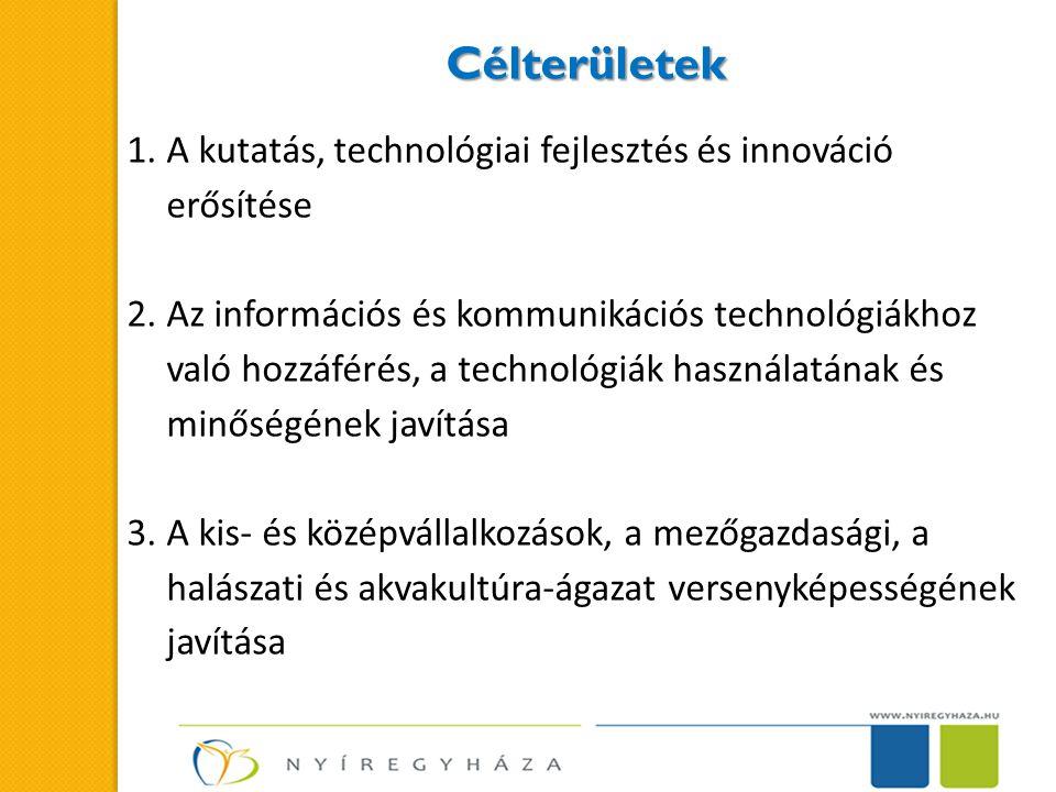 Célterületek 1.A kutatás, technológiai fejlesztés és innováció erősítése 2.Az információs és kommunikációs technológiákhoz való hozzáférés, a technológiák használatának és minőségének javítása 3.A kis- és középvállalkozások, a mezőgazdasági, a halászati és akvakultúra-ágazat versenyképességének javítása