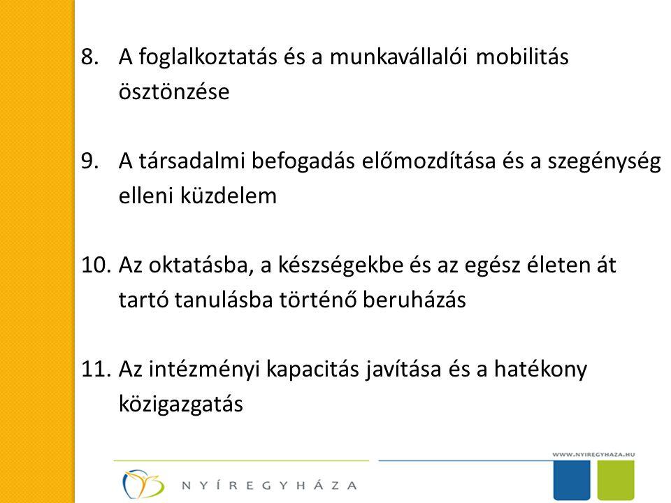 8.A foglalkoztatás és a munkavállalói mobilitás ösztönzése 9.A társadalmi befogadás előmozdítása és a szegénység elleni küzdelem 10.Az oktatásba, a készségekbe és az egész életen át tartó tanulásba történő beruházás 11.Az intézményi kapacitás javítása és a hatékony közigazgatás