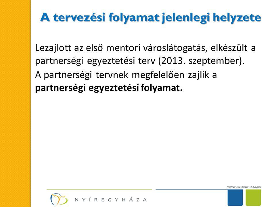 A tervezési folyamat jelenlegi helyzete Lezajlott az első mentori városlátogatás, elkészült a partnerségi egyeztetési terv (2013.