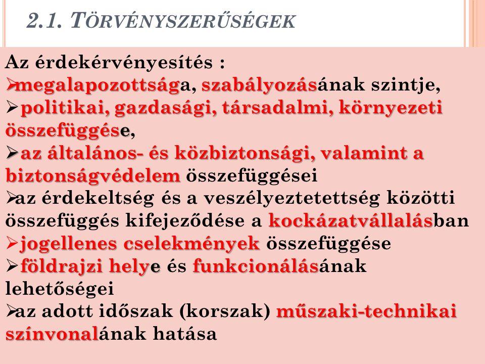 2.1. T ÖRVÉNYSZERŰSÉGEK 20 Az érdekérvényesítés :  megalapozottságszabályozás  megalapozottsága, szabályozásának szintje, politikai, gazdasági, társ
