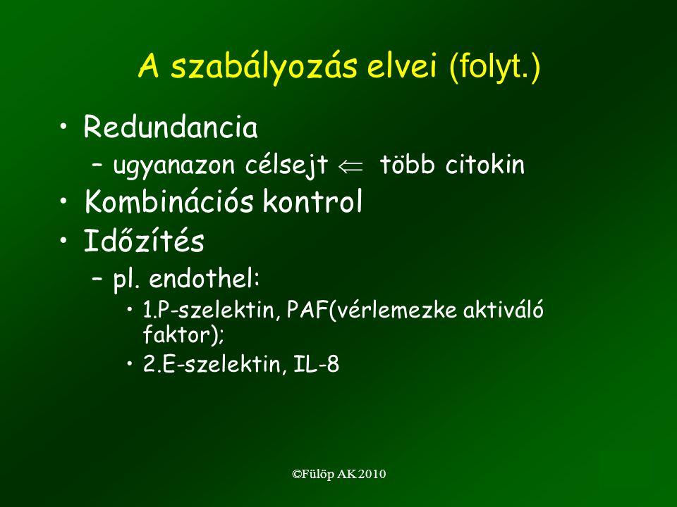 ©Fülöp AK 201018 A szabályozás elvei (folyt.) •Redundancia –ugyanazon célsejt  több citokin •Kombinációs kontrol •Időzítés –pl.
