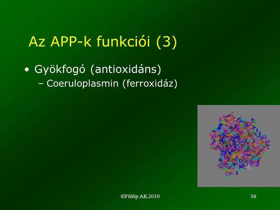 ©Fülöp AK 201036 •Gyökfogó (antioxidáns) –Coeruloplasmin (ferroxidáz) Az APP-k funkciói (3)
