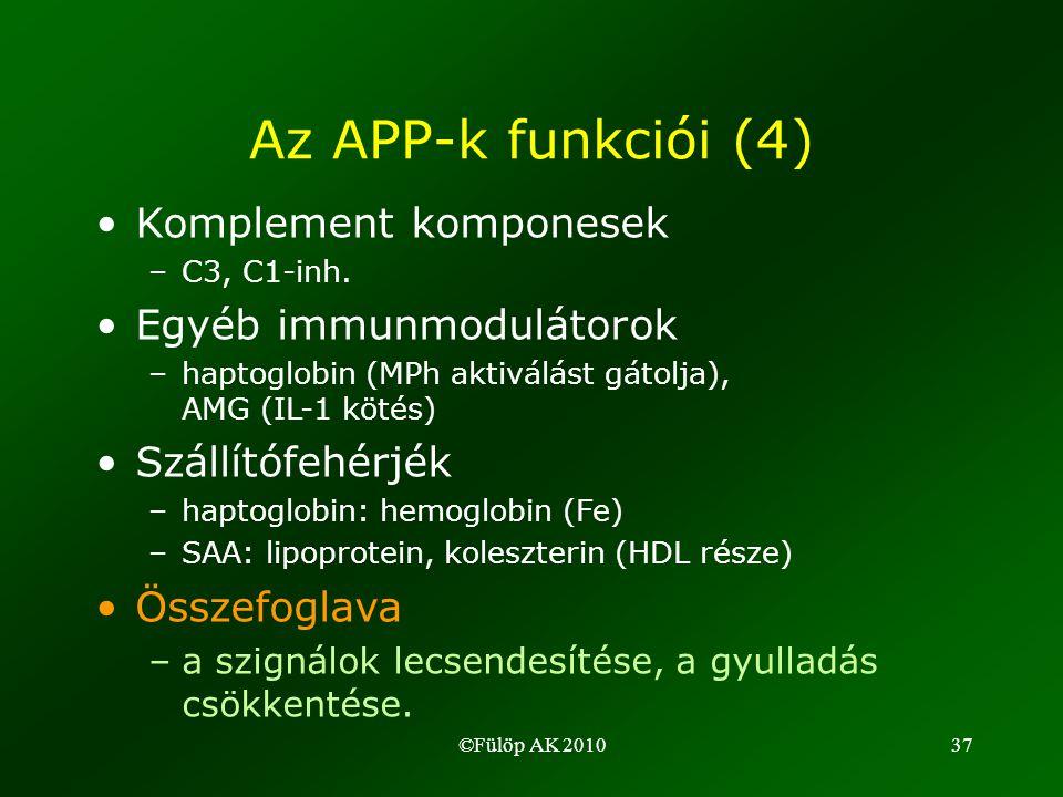 ©Fülöp AK 201037 Az APP-k funkciói (4) •Komplement komponesek –C3, C1-inh.