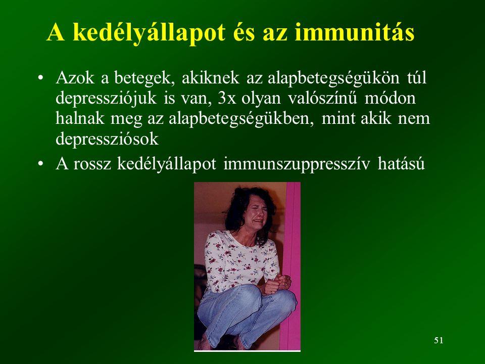 51 A kedélyállapot és az immunitás •Azok a betegek, akiknek az alapbetegségükön túl depressziójuk is van, 3x olyan valószínű módon halnak meg az alapbetegségükben, mint akik nem depressziósok •A rossz kedélyállapot immunszuppresszív hatású
