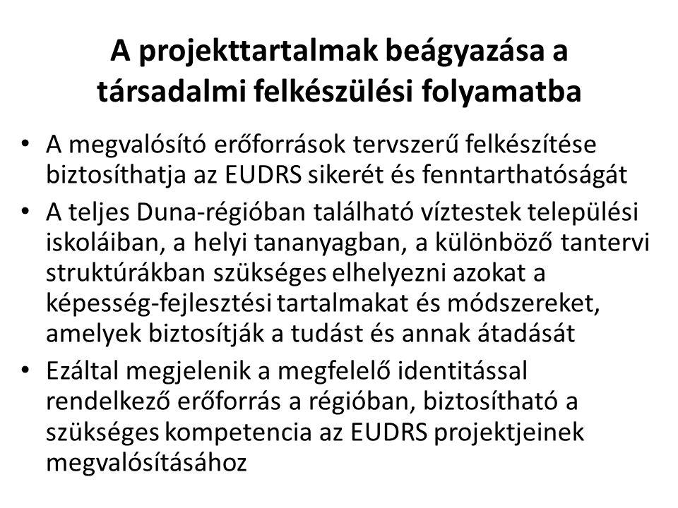 A projekttartalmak beágyazása a társadalmi felkészülési folyamatba • A megvalósító erőforrások tervszerű felkészítése biztosíthatja az EUDRS sikerét és fenntarthatóságát • A teljes Duna-régióban található víztestek települési iskoláiban, a helyi tananyagban, a különböző tantervi struktúrákban szükséges elhelyezni azokat a képesség-fejlesztési tartalmakat és módszereket, amelyek biztosítják a tudást és annak átadását • Ezáltal megjelenik a megfelelő identitással rendelkező erőforrás a régióban, biztosítható a szükséges kompetencia az EUDRS projektjeinek megvalósításához