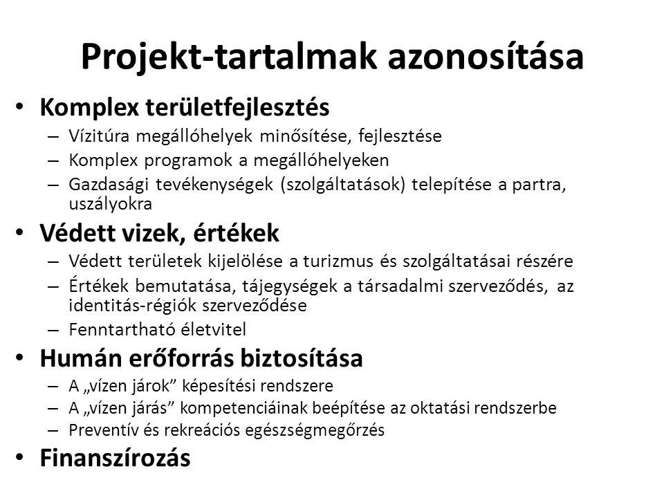 """Projekt-tartalmak azonosítása • Komplex területfejlesztés – Vízitúra megállóhelyek minősítése, fejlesztése – Komplex programok a megállóhelyeken – Gazdasági tevékenységek (szolgáltatások) telepítése a partra, uszályokra • Védett vizek, értékek – Védett területek kijelölése a turizmus és szolgáltatásai részére – Értékek bemutatása, tájegységek a társadalmi szerveződés, az identitás-régiók szerveződése – Fenntartható életvitel • Humán erőforrás biztosítása – A """"vízen járok képesítési rendszere – A """"vízen járás kompetenciáinak beépítése az oktatási rendszerbe – Preventív és rekreációs egészségmegőrzés • Finanszírozás"""