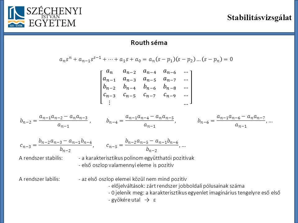 Stabilitásvizsgálat Routh séma A rendszer stabilis:- a karakterisztikus polinom együtthatói pozitívak - első oszlop valamennyi eleme is pozitív A rend