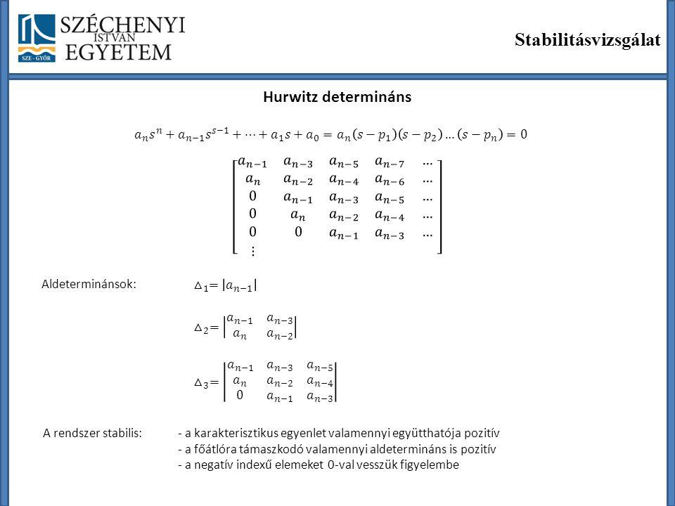 Stabilitásvizsgálat Hurwitz determináns Aldeterminánsok: A rendszer stabilis:- a karakterisztikus egyenlet valamennyi együtthatója pozitív - a főátlór