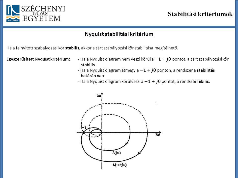 Stabilitási kritériumok Nyquist stabilitási kritérium