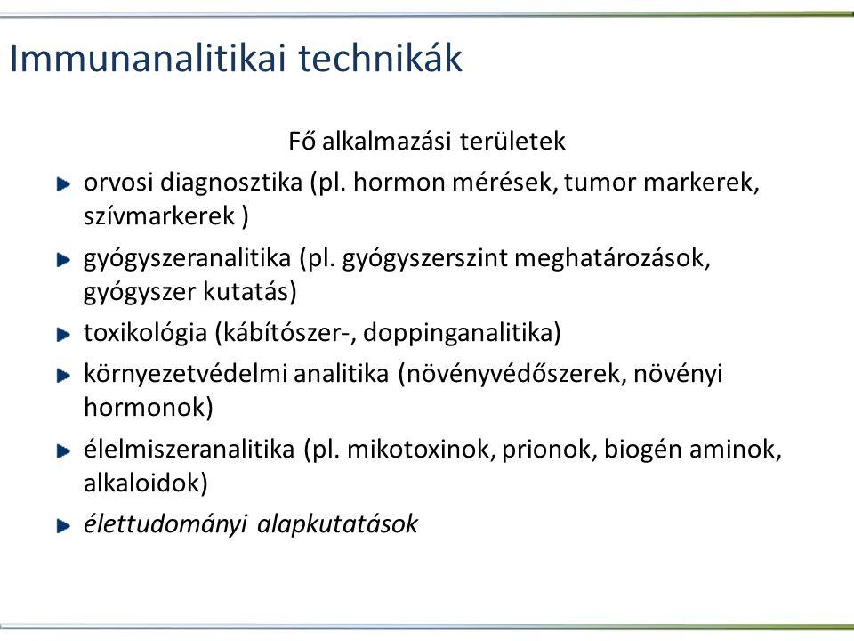 Immunanalitikai technikák Fő alkalmazási területek orvosi diagnosztika (pl. hormon mérések, tumor markerek, szívmarkerek ) gyógyszeranalitika (pl. gyó