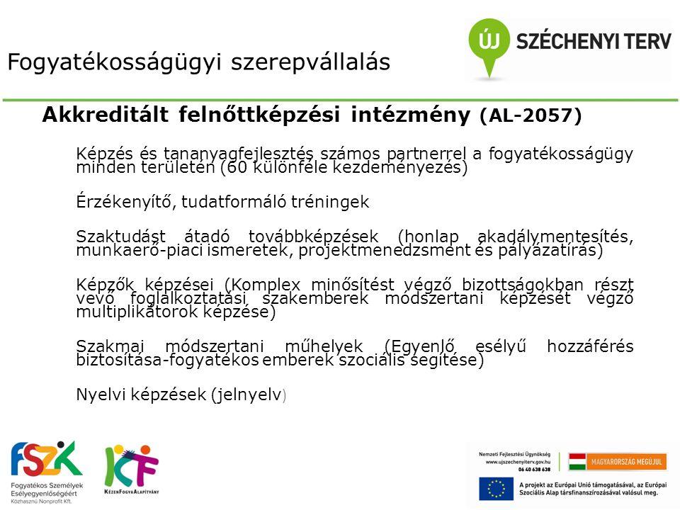 Fogyatékosságügyi szerepvállalás Nemzetközi partnerségek  Nyugat – Balkán meghatározó szereplője – tudástranszfer  Európai Uniós partnerségek generálása – E2C tagság, IISE fejlesztés, korai fejlesztés partnerségei, Grundtvig és Leonardo programok  Részvétel innovációkban – ET munkák: akadálymenetesítés, intézményi férőhely kiváltás