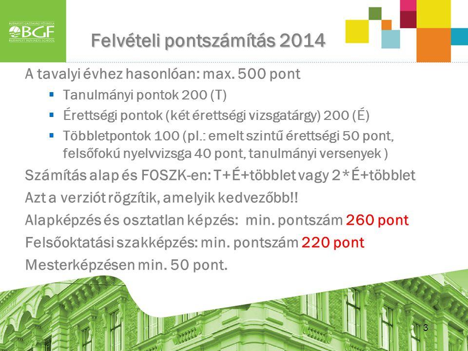 3 Felvételi pontszámítás 2014 3 A tavalyi évhez hasonlóan: max. 500 pont  Tanulmányi pontok 200 (T)  Érettségi pontok (két érettségi vizsgatárgy) 20