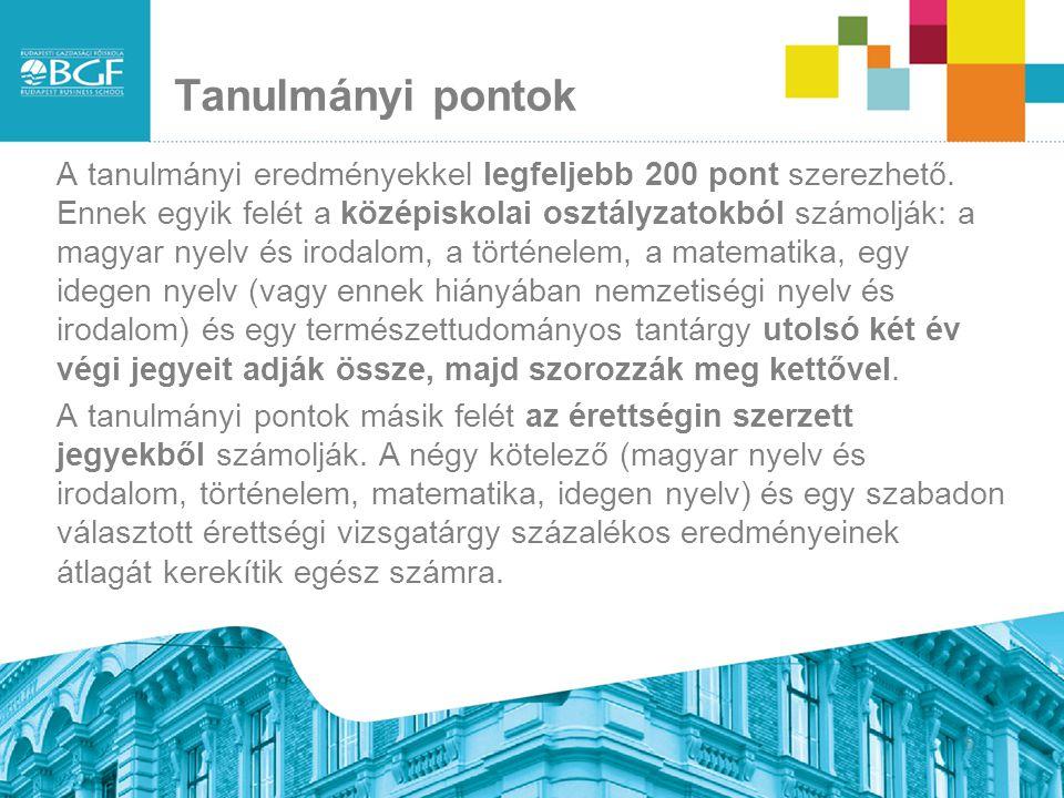 Tanulmányi pontok A tanulmányi eredményekkel legfeljebb 200 pont szerezhető. Ennek egyik felét a középiskolai osztályzatokból számolják: a magyar nyel