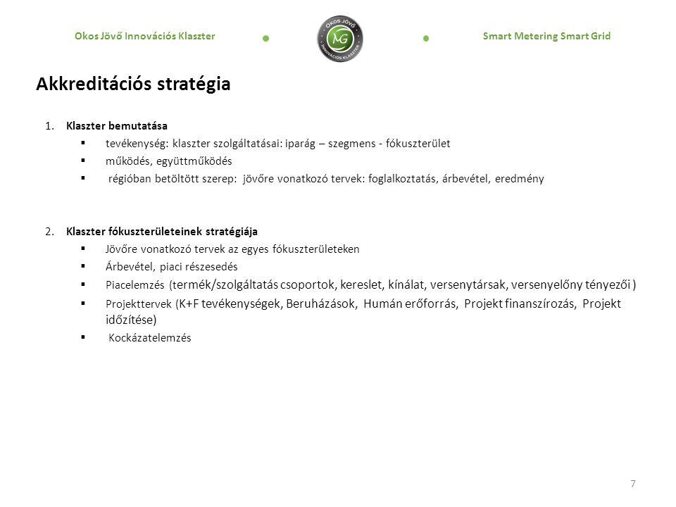 Okos Jövő Innovációs Klaszter Smart Metering Smart Grid 7 Akkreditációs stratégia 1. Klaszter bemutatása  tevékenység: klaszter szolgáltatásai: ipará
