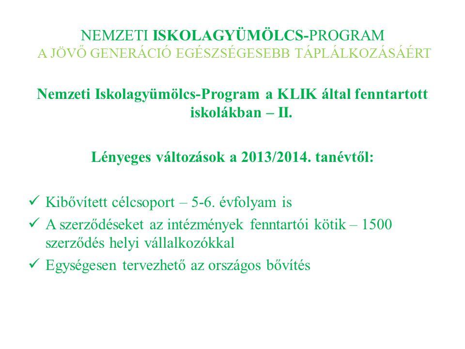 NEMZETI ISKOLAGYÜMÖLCS-PROGRAM A JÖVŐ GENERÁCIÓ EGÉSZSÉGESEBB TÁPLÁLKOZÁSÁÉRT Nemzeti Iskolagyümölcs-Program a KLIK által fenntartott iskolákban – II.