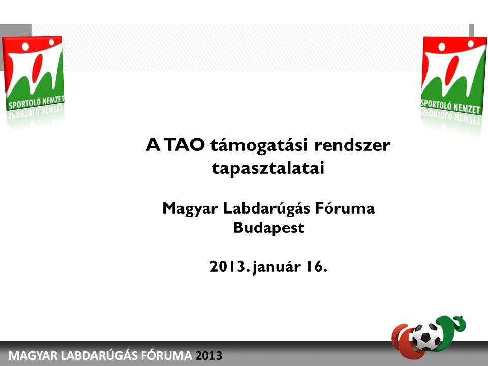 A TAO támogatási rendszer tapasztalatai Magyar Labdarúgás Fóruma Budapest 2013. január 16.