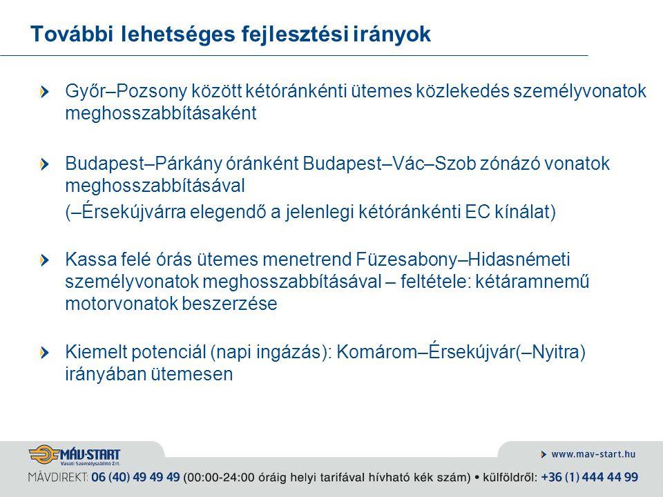 További lehetséges fejlesztési irányok Győr–Pozsony között kétóránkénti ütemes közlekedés személyvonatok meghosszabbításaként Budapest–Párkány óránkén