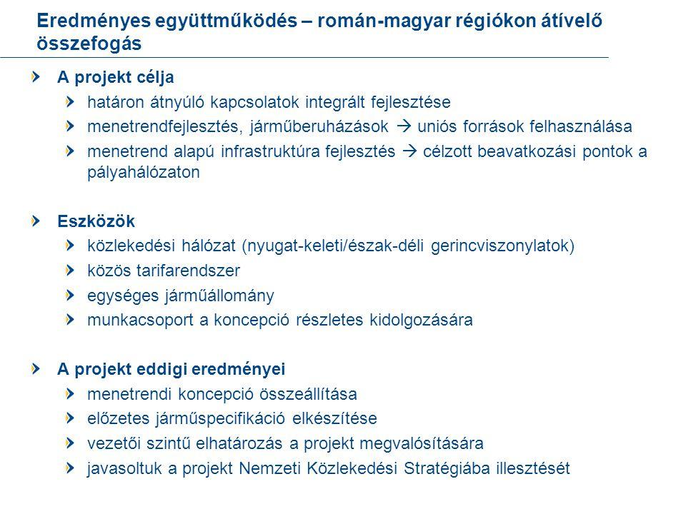 Eredményes együttműködés – román-magyar régiókon átívelő összefogás A projekt célja határon átnyúló kapcsolatok integrált fejlesztése menetrendfejlesztés, járműberuházások  uniós források felhasználása menetrend alapú infrastruktúra fejlesztés  célzott beavatkozási pontok a pályahálózaton Eszközök közlekedési hálózat (nyugat-keleti/észak-déli gerincviszonylatok) közös tarifarendszer egységes járműállomány munkacsoport a koncepció részletes kidolgozására A projekt eddigi eredményei menetrendi koncepció összeállítása előzetes járműspecifikáció elkészítése vezetői szintű elhatározás a projekt megvalósítására javasoltuk a projekt Nemzeti Közlekedési Stratégiába illesztését 21