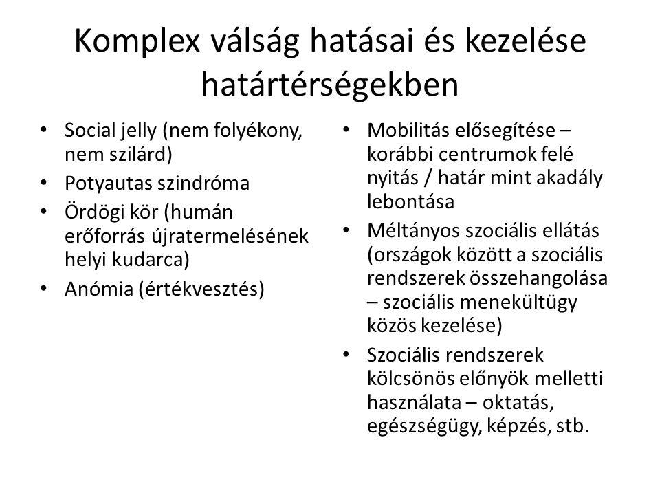 Komplex válság hatásai és kezelése határtérségekben • Social jelly (nem folyékony, nem szilárd) • Potyautas szindróma • Ördögi kör (humán erőforrás újratermelésének helyi kudarca) • Anómia (értékvesztés) • Mobilitás elősegítése – korábbi centrumok felé nyitás / határ mint akadály lebontása • Méltányos szociális ellátás (országok között a szociális rendszerek összehangolása – szociális menekültügy közös kezelése) • Szociális rendszerek kölcsönös előnyök melletti használata – oktatás, egészségügy, képzés, stb.